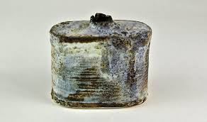 Adela Powell 30. Can Form, Medium blue with copper & lustre 15 x 15 x 7 cm  SOLD   Sladers Yard