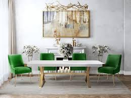 TOV Furniture Modern Adeline White & Gold Rectangular Dining Table ...