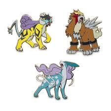Image for Raikou Entei Suicune Pokémon Pins from Pokemon Center ...