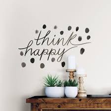 Wall Pops Black Think Happy Wall Quote Decal Wpq2816 The Home Depot