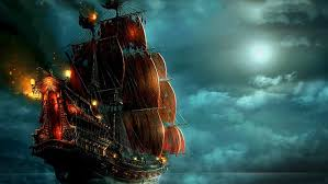 hd wallpaper black and red pirate ship