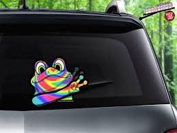 Rainbow Frog Waving Peace Attach To Rear Vehicle Wiper Blades Wipertags