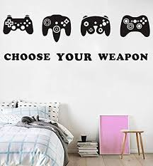 Amazon Com Game Wall Decal Video Gamer Boy Wall Decal Peel Stick Games Wall Stickers Boys Bedroom Playroom Decor Arts Crafts Sewing