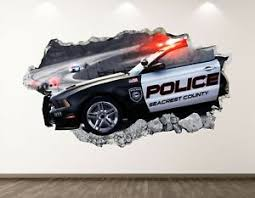 Police Car Wall Decal Art Decor 3d Smashed Patrol Mural Custom Sticker Bl119 Ebay