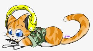 Cat Listening To Music Clipart - Cartoon Funny Cats Png ...