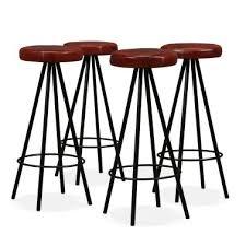 vidaxl bar stools 4 pcs real leather