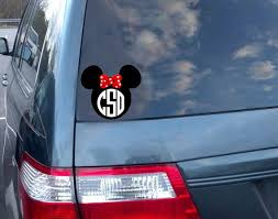 Minnie Mouse Monogram Car Decal 2color 5 Inch By Theposhshoppe Car Monogram Decal Car Decals Car