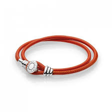 double leather bracelet spicy orange