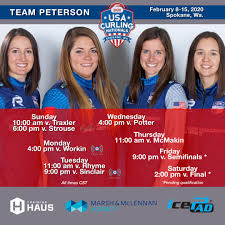 """Team Peterson on Twitter: """"The #RoadToSpokane. Heading out for @usacurl  Nationals! 🇺🇸 Check out the live @12thEndSports webstream each day. We'll  have a pair of round robin games shown. Our full schedule"""