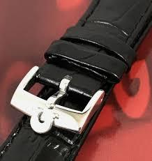 omega steel 16mm logo buckle 18mm black