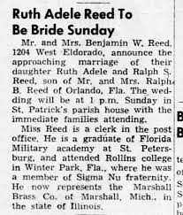 Ruth Adele Reed & Ralph C Reed Wedding Announcement - Newspapers.com
