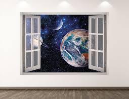 Earth Wall Decal Space 3d Window Wall Art Sticker Kids Decor Etsy