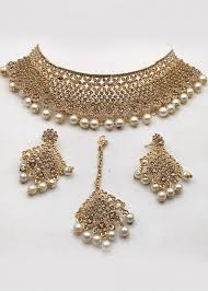 pearl stone sudded golden choker