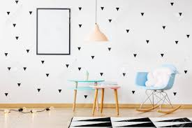Mockup Of Poster On Wall In Bright Kid S Room With Geometric Stock Photo Picture And Royalty Free Image Image 91939855