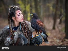 viking warrior woman in woods wearing