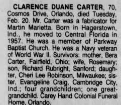 Obituary for CLARENCE DUANE CARTER (Aged 70) - Newspapers.com