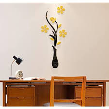 Amazon Com 3d Vase Wall Murals For Living Room Bedroom Sofa Backdrop Tv Wall Background Originality Stickers Gift Diy Wall Decal Wall Decor Wall Decorations Yellow 30 X 12 Inches Beauty