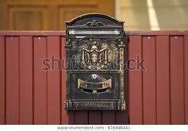 Metal Mailbox On Fence Buildings Landmarks Stock Image 616946441