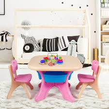 Shop Gymax Plastic Children Kids Table Chair Set 3 Pc Play Furniture On Sale Overstock 25484138