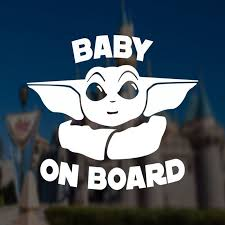 Baby On Board Car Decal With Baby Yoda The Cosplan