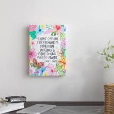 East Urban Home Mark Twain Quote Floral By Indigo Sage Graphic Art On Wrapped Canvas Wayfair