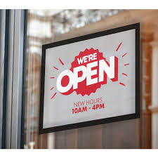 E Z Up Wcl1218rct 18 X 12 Rectangle We Are Open Window Decal