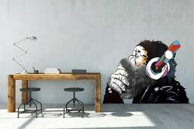 Monkey With A Beard Banksy Vinyl Sticker Banksy Housewares Homedecor Etsymktgtool Monkeywithabeard Banksy Vinylst Monkey Art Monkey Decal Monkey Stickers
