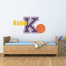 Basketball Decal With Name Initial Sports Wall Decal Boy Bedroom Stephen Edward Graphics