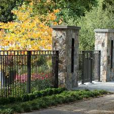 Stone Fence Design Ideas Pictures Remodel And Decor Modern Fence Fence Design Backyard Fences