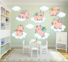 Pig Piglet Animal Flying Wall Decals Kids Stickers Peel Stick Etsy