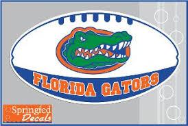 Florida Gators Gator Head On White Football Vinyl Decal Gator Mania