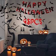 Amazon Com Bat Wall Decor Halloween Party Decorations With Decor Bats Happy Halloween Banner 3d Decoration Scary Bats Wall Decal Wall Sticker For Indoor Halloween Home Party Office Health Personal Care