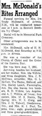 Iva Trudy (Wilhite) McDonald (1895-1956) | WikiTree FREE Family Tree