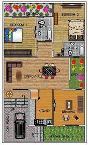 2 bhk floor plan for 30 x 50 feet plot