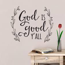 God Is Good Y All Vinyl Wall Decal Laurel Wreath Modern Wall Decal