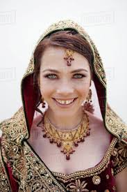 caucasian woman in traditional indian