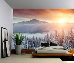 snow mountain sunset large wall mural
