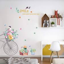Amazon Com Dktie Flower Wall Decals For Living Room Flowers Decorations For Wall Stickers For Bedroom Living Room Removale Art Decal Two Pieces Combination 4060cm 15 723 6inch Arts Crafts Sewing