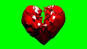 green screen broken shattering 3d heart