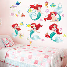 Cartoon Underwater The Little Mermaid Fish Wall Stickers For Kids Rooms Wall Decal Mural Poster Art Girls Bedroom Decor Wall Stickers Aliexpress