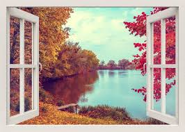 Autumn Landscape Wall Decal Lake Wall Decal 3d Window Wall Etsy