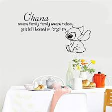 Amazon Com Removable Vinyl Mural Decal Quotes Art Ohana Means Family Means Nobody Gets Left Behind Or Forgotten Living Room Kids Room Nursery Kids Room Couple Room Home Kitchen