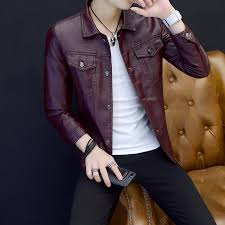 leather jacket fashion pu male red wine