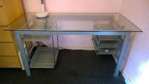 metal and glass top computer desk