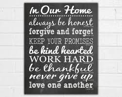 In Our Home Print House Rules Sign Family Rules Wall Art Etsy