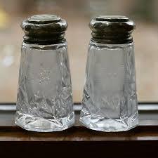 cut glass salt pepper shaker set