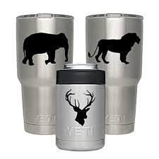 Gamexcel Yeti Decal Vinyl Tumbler Sticker Personalized Protective Decals Diy For Yeti Tumbler 20 30 Oz Lowball Rambler Cups Laptop Pad Phone 3 Pack Lion Elephant Deer Wantitall