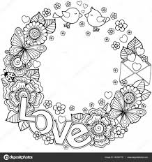 Coloring Page For Adult Rounder Frame Made Of Flowers