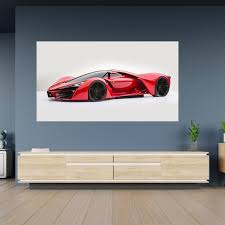 Red Ferrari Super Sport Car Poster Self Adhesive Wall Decal Etsy