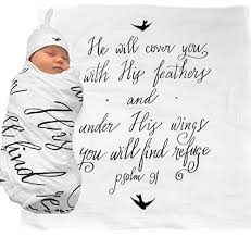 muslin swaddle bonus baby hat scripture quote psalm
